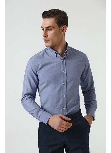 D'S Damat Slim Fit Armürlü Gömlek Mavi